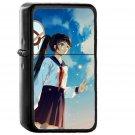 Girl School Girl Anime Sky Cloud Star Art Illustration - Oil Windproof Black Lighters