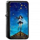 Girl Anime Star Space Night Illustration Art - Oil Windproof Black Lighters