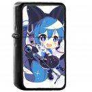 Hatsune Miku Anime Girl Blue Illustration Art Cute - Oil Windproof Black Lighters
