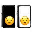 64 Worried Face - (1pcs) Oil Windproof Black Emoji Emoticon Lighters
