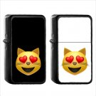 105 Smiling Cat Face Heart Shaped Eyes - (1pcs) Oil Windproof Black Emoji Emoticon Lighters