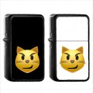 106 Cat Face Wry Smile - (1pcs) Oil Windproof Black Emoji Emoticon Lighters