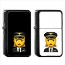 232 Female Pilot - (1pcs) Oil Windproof Black Emoji Emoticon Lighters