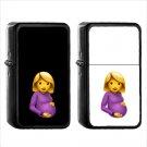 258 Pregnant Woman - (1pcs) Oil Windproof Black Emoji Emoticon Lighters