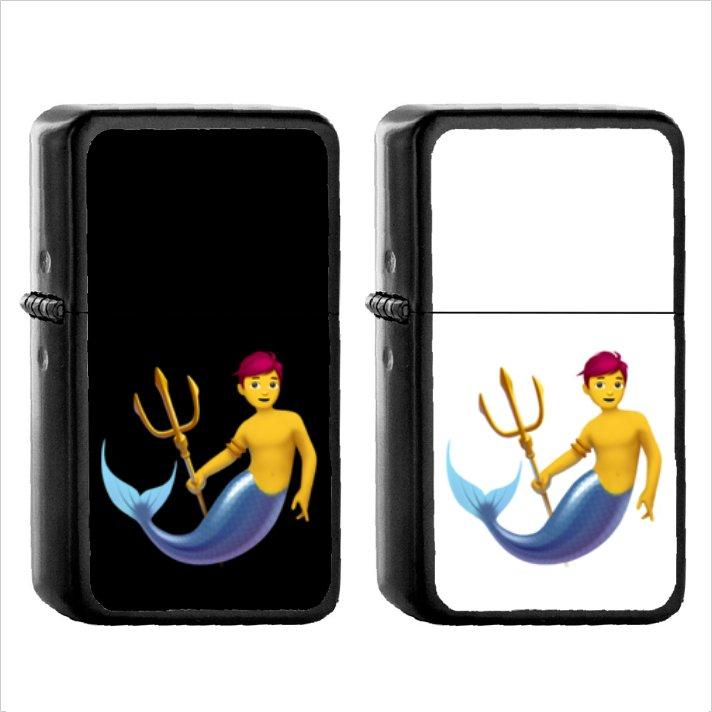 278 Merperson - (1pcs) Oil Windproof Black Emoji Emoticon Lighters