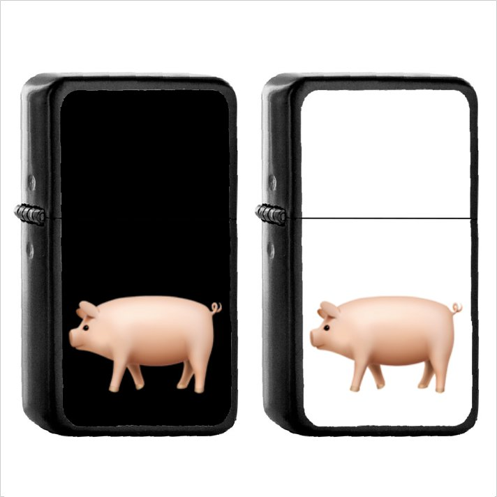 423 Pig - (1pcs) Oil Windproof Black Emoji Emoticon Lighters
