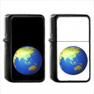 526 Earth Globe Asia Australia - (1pcs) Oil Windproof Black Emoji Emoticon Lighters