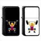 702 Woman Weight Lifting - (1pcs) Oil Windproof Black Emoji Emoticon Lighters