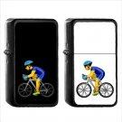 703 Bicyclist - (1pcs) Oil Windproof Black Emoji Emoticon Lighters