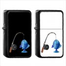 758 Fishing Pole Fish - (1pcs) Oil Windproof Black Emoji Emoticon Lighters