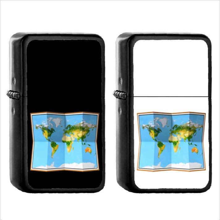 917 World Map - (1pcs) Oil Windproof Black Emoji Emoticon Lighters