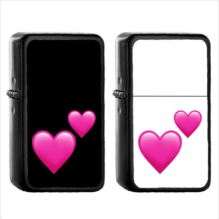 1114 Two Hearts - (1pcs) Oil Windproof Black Emoji Emoticon Lighters