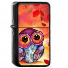 Owls First Fall Leaf - Oil Windproof Flip Top Black Lighters Briquet Encendedor
