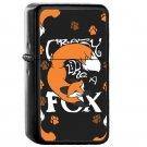 Crazy Like A Fox Orange - Oil Windproof Flip Top Black Lighters Briquet Encendedor EE