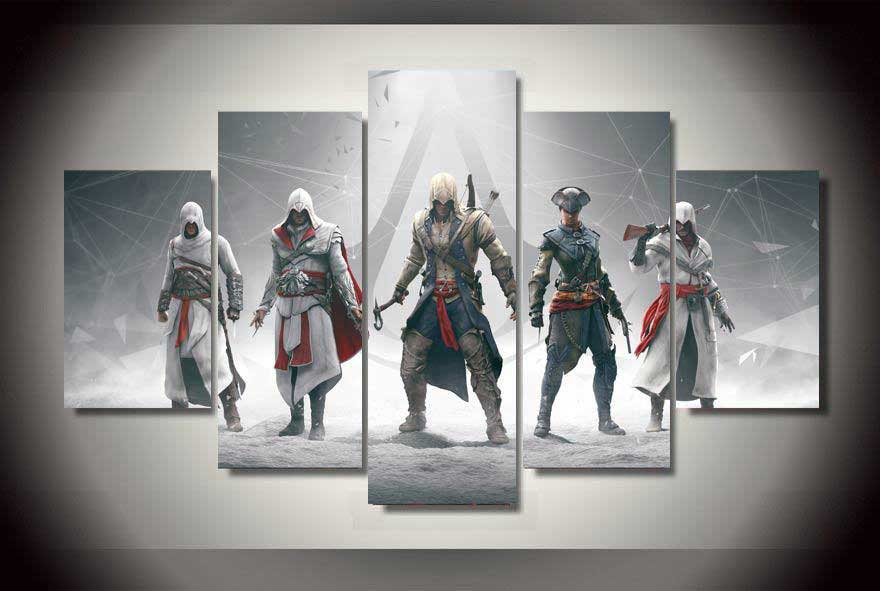 Assassin's Creed #01 5 pcs Unframed Canvas Print - Small Size