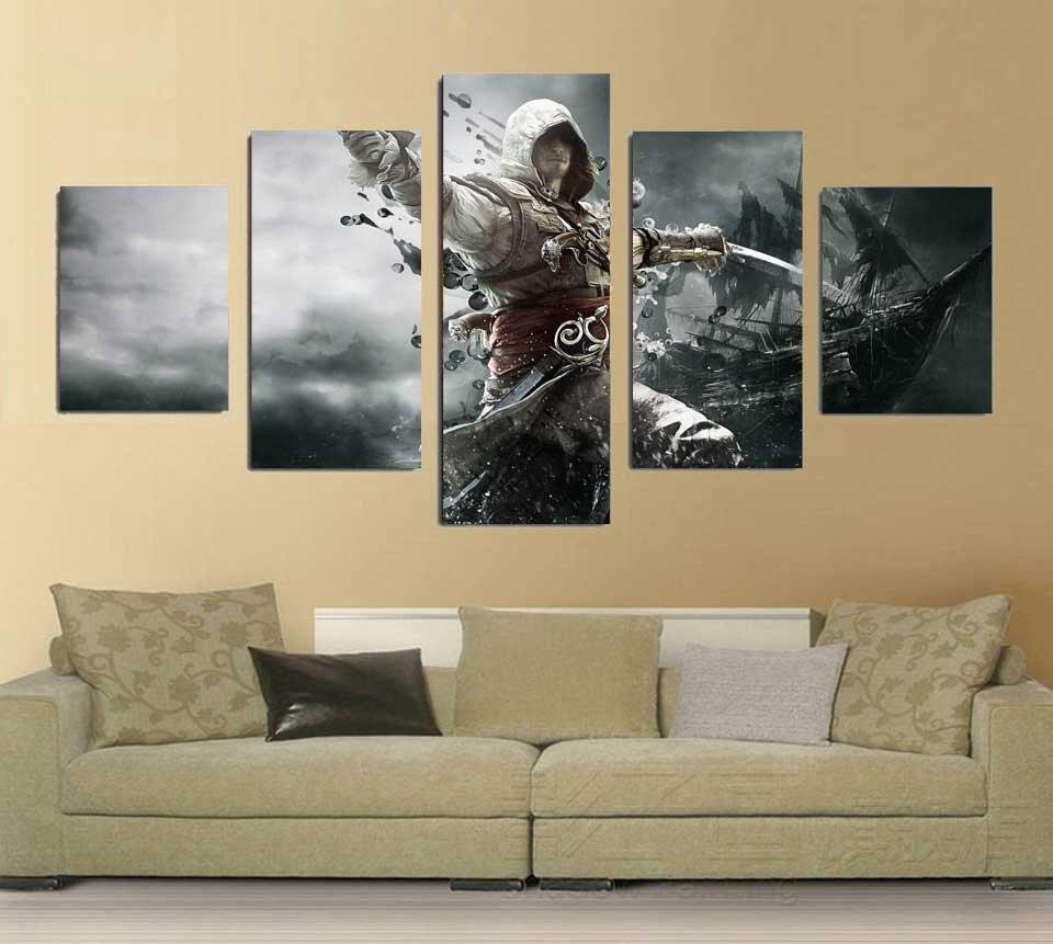 Assassin's Creed IV: Black Flag #03 5 pcs Unframed Canvas Print - Medium Size