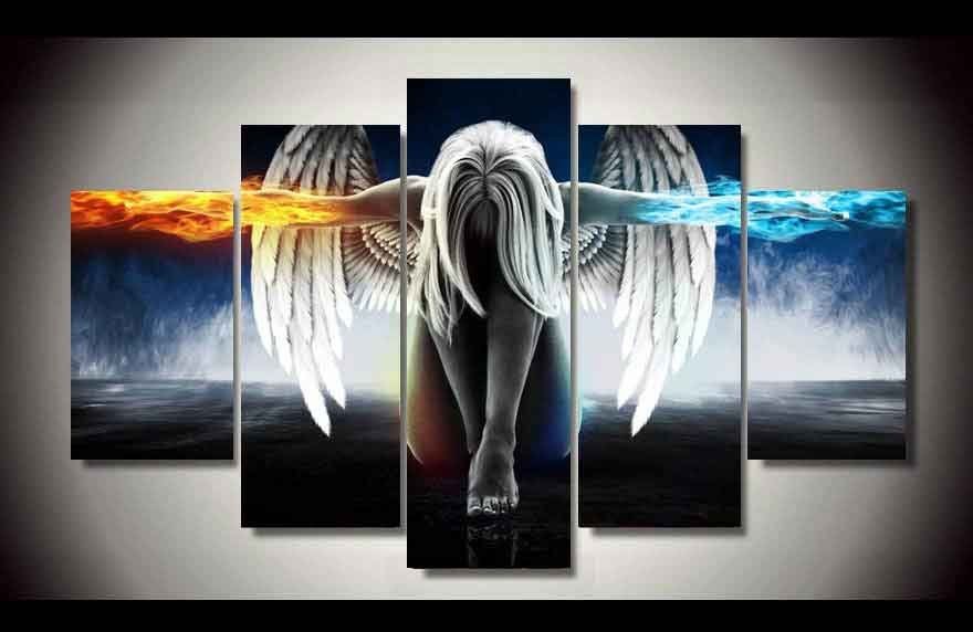 Fire & Ice Angel 5 pcs Unframed Canvas Print - Large Size