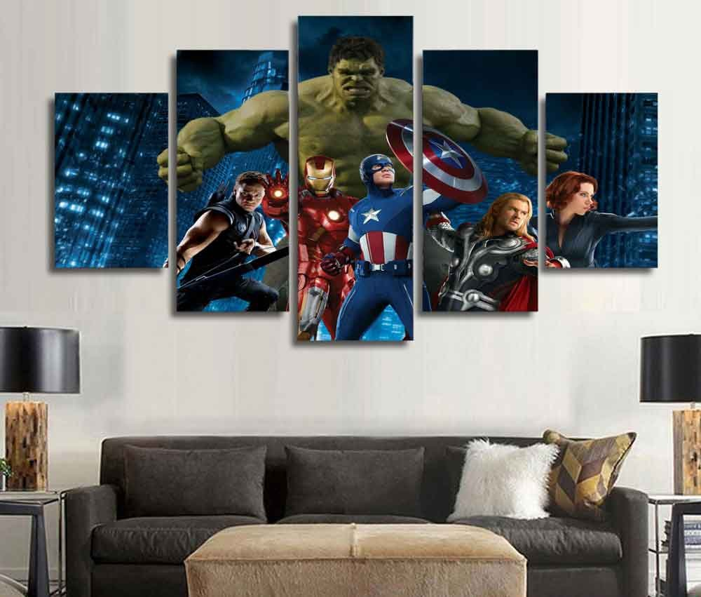 Marvel Avengers Superhero #01 5 pcs Unframed Canvas Print - Small Size