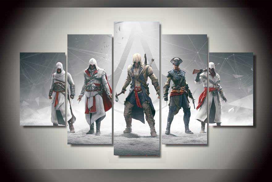 Assassin's Creed #01 5 pcs Framed Canvas Print - Medium Size