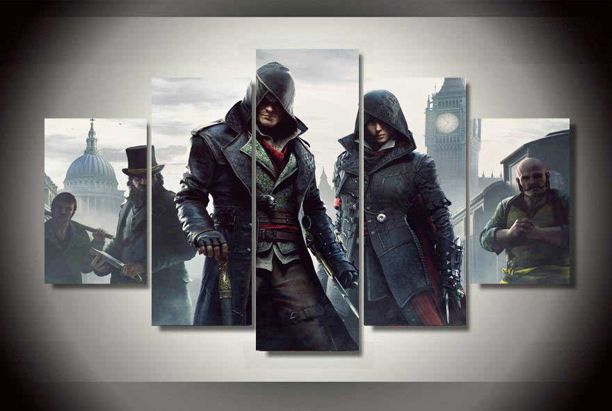 Assassin's Creed Syndicate #04 5 pcs Framed Canvas Print - Small Size