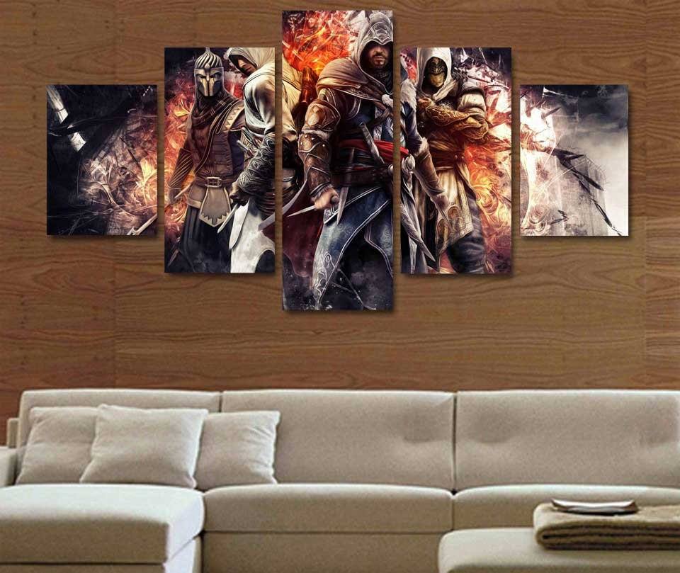 Assassin's Creed #08 5 pcs Framed Canvas Print - Large Size