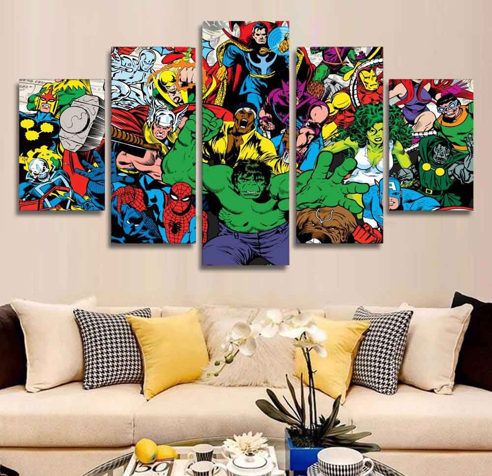 Marvel Avengers Superhero Comics #02 5 pcs Framed Canvas Print - Large Size