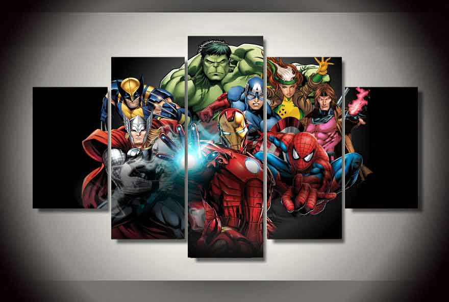 Marvel Avengers Superhero Comics #06 5 pcs Framed Canvas Print - Large Size