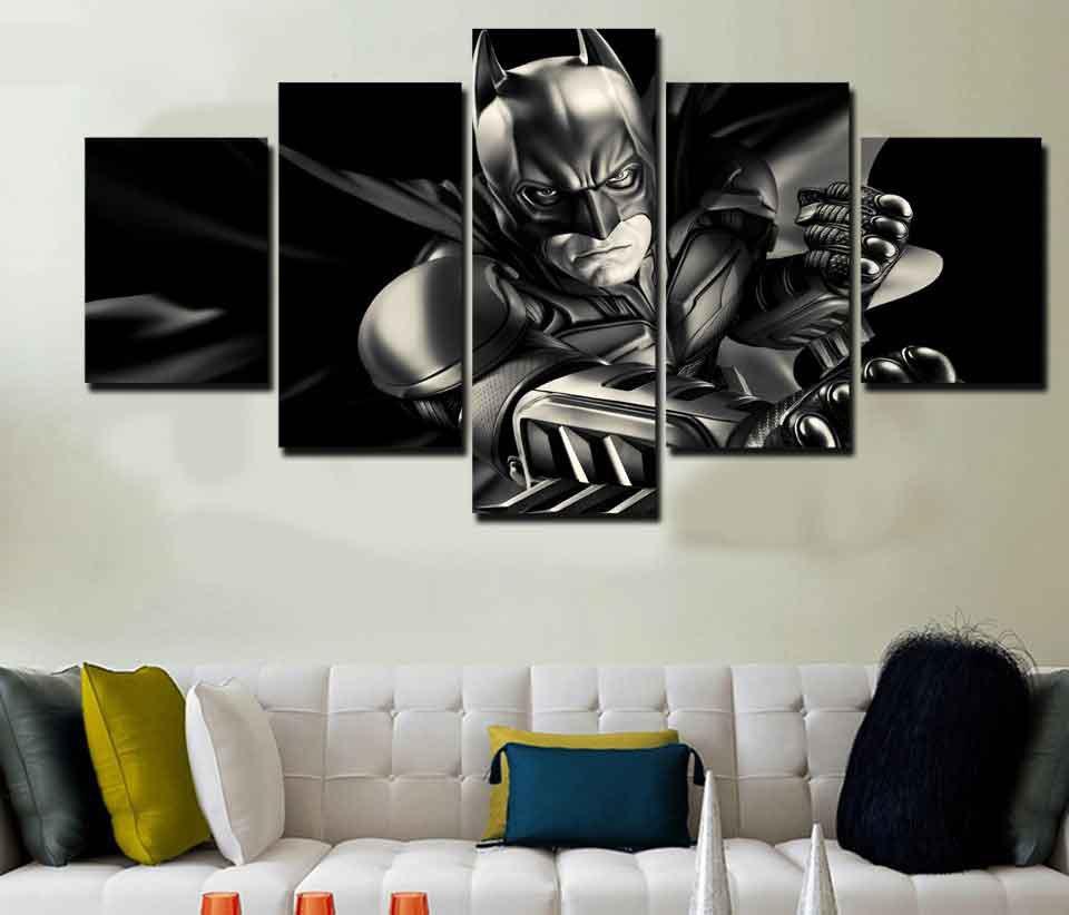 Batman Dark Knight #02 5 pcs Framed Canvas Print - Medium Size