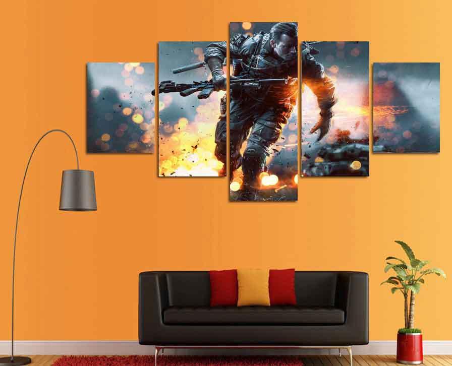 Battlefield #01 5 pcs Framed Canvas Print - Medium Size