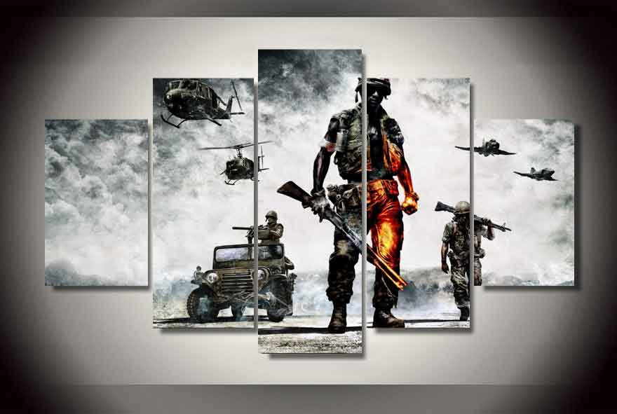 Battlefield #02 5 pcs Framed Canvas Print - Large Size