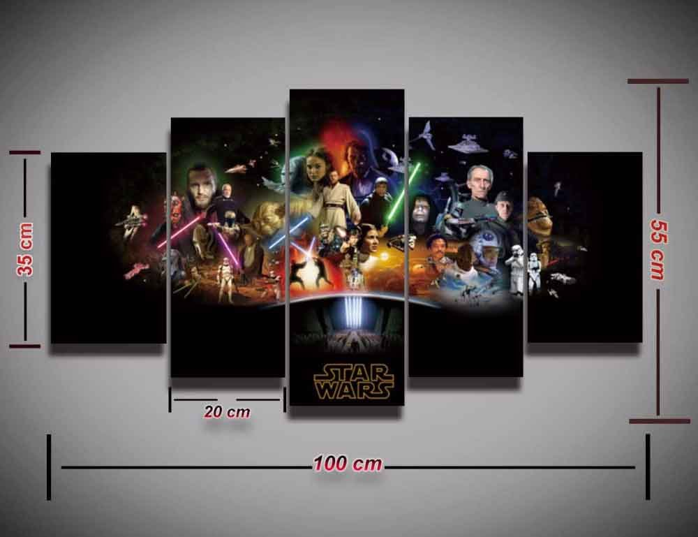 Star Wars All Character #02 5 pcs Framed Canvas Print - Large Size