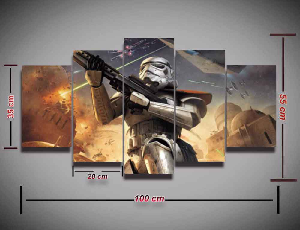 Star Wars Stormtrooper #06 5 pcs Framed Canvas Print - Small Size