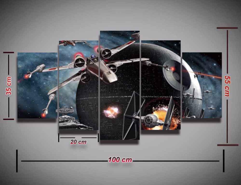 Star Wars X-Wing TIE Fighter #07 5 pcs Framed Canvas Print - Medium Size