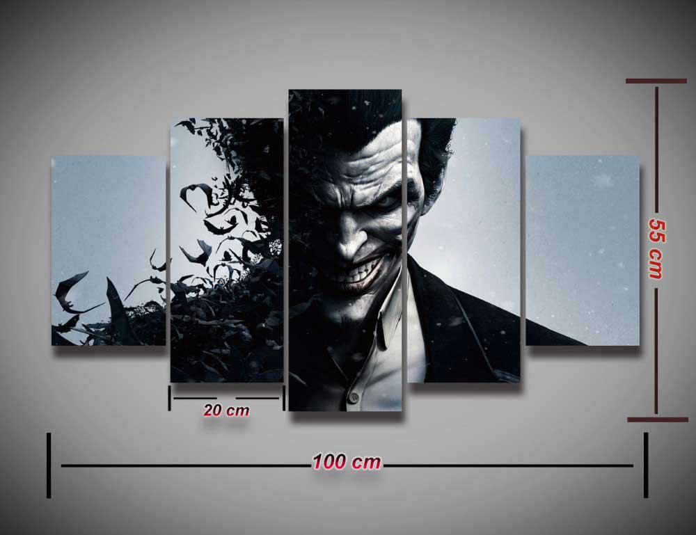 The Joker Batman Arkham #05 5 pcs Unframed Canvas Print - Large Size