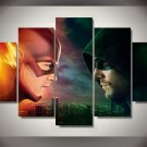 The Flash vs Arrow #01 5 pcs Unframed Canvas Print - Large Size
