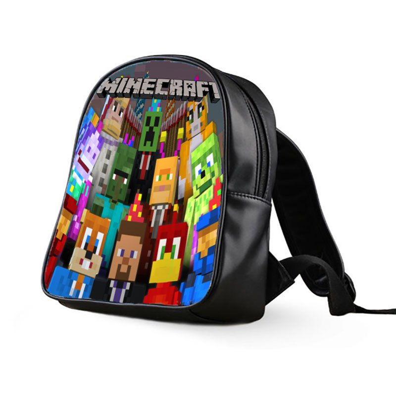 #64 Minecraft Creeper Kids Multi-Pocket School Bag Backpack