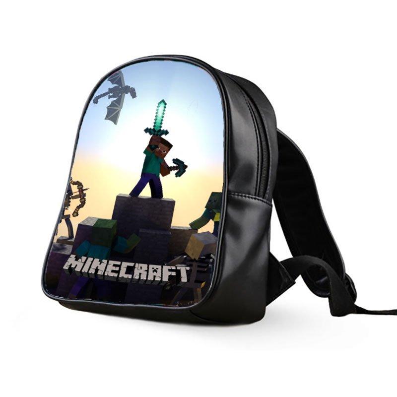 #36 Minecraft Creeper Kids Multi-Pocket School Bag Backpack