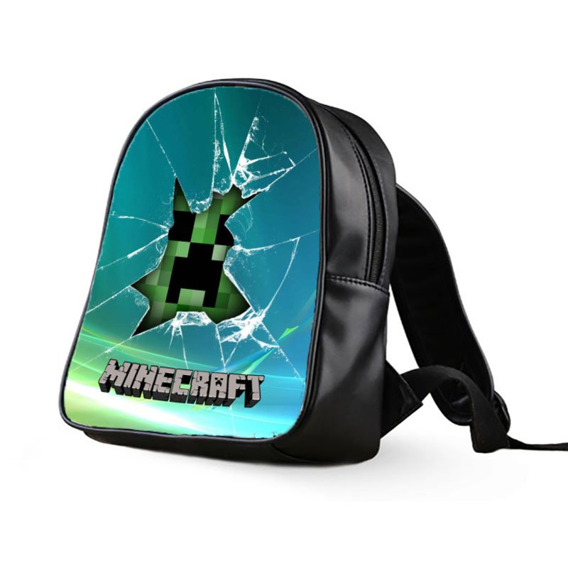 #63 Minecraft Creeper Kids Multi-Pocket School Bag Backpack