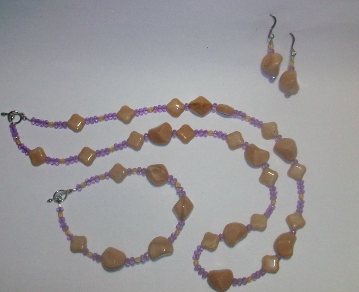 Earth Tone Nugget Necklace Set