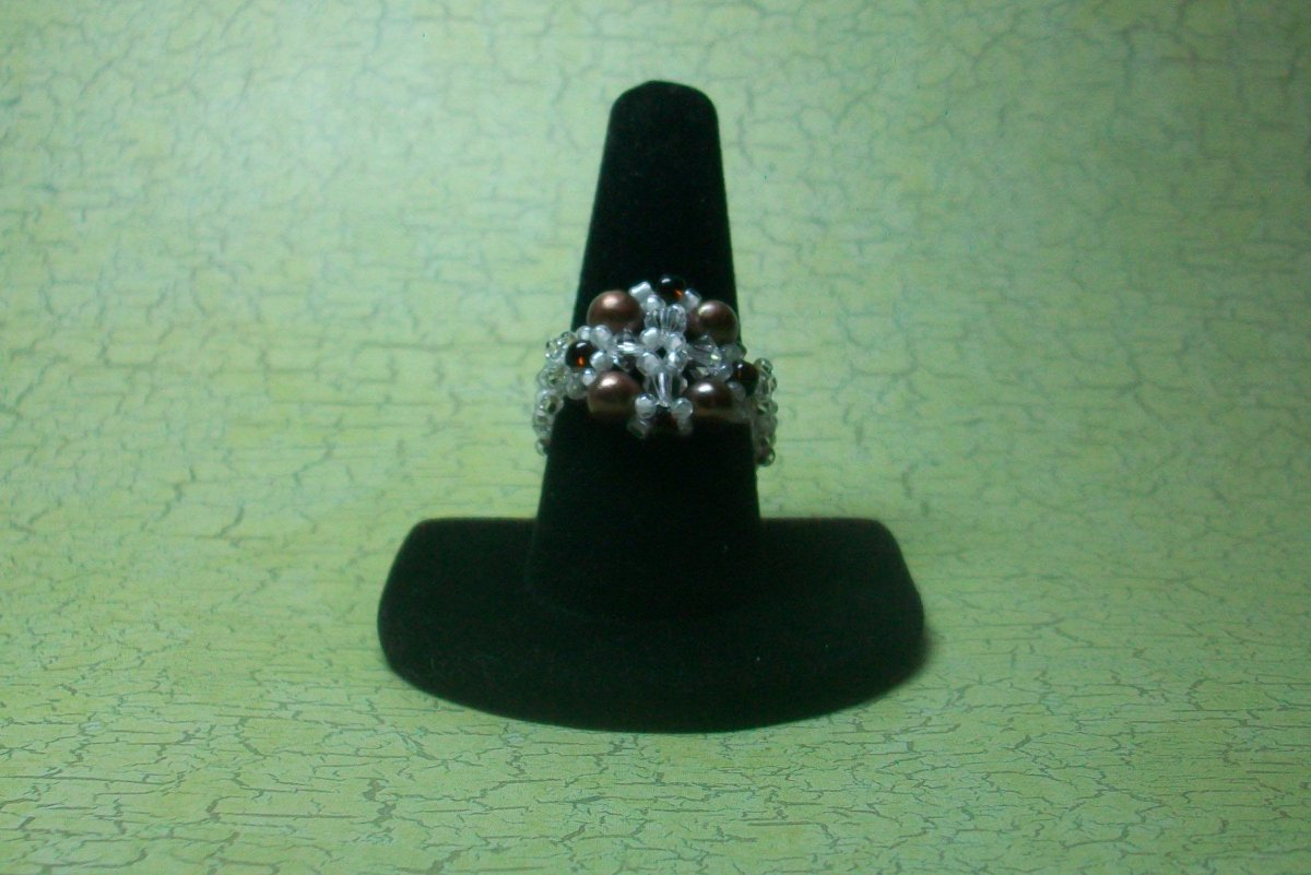 Ring Pearls and Crystal