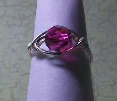 Ring Fuschia Wire Wrapped