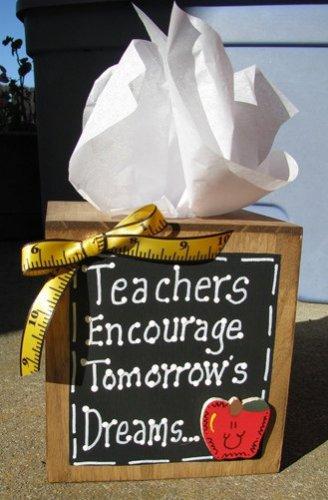 2711TBT -Teachers Encourage Tommorow's Dreams Tissue Box wood
