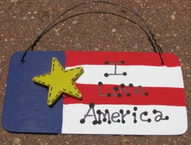 10977ILA - I Love America Wood Sign