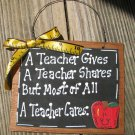 Teacher Gifts 24104 A Teacher Cares Wooden Slate