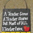 Teacher Gift 5208 A Teacher Cares with Ruler/Apple