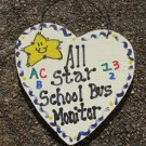 5039 - All Star School Bus Monitor Wood Hanging Sign