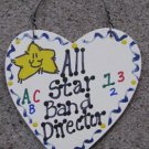 Teacher Gifts 5042 All Star Band Director Handmade Wood Heart