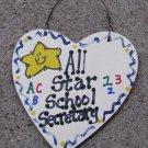 Teacher Gifts 5028 All Star School Secretary handmade wood heart