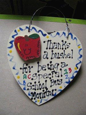 Teacher Gifts 6030 Thanks a Bushel Special School Bus Monitor Wood Heart