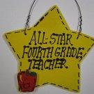 Teacher Gifts Yellow Star w/Apple 7023 All Star Fourth Grade Teacher